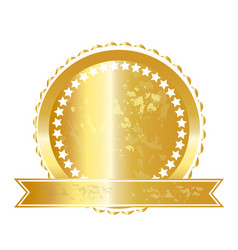 Gold label seal icon vector