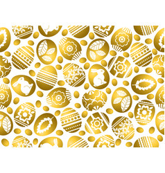 Golden easter eggs decorated with flowers leafs vector