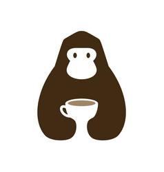 gorilla coffee cup cafe drink negative space logo vector image