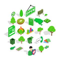 green fruit icons set isometric style vector image
