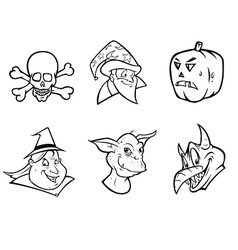 halloween collection outline vector image