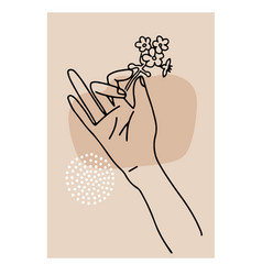 hand drawn woman s hand holding vector image