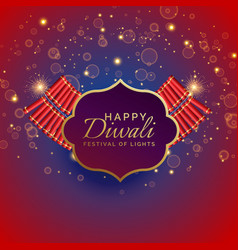 Happy diwali background with burning crackers vector
