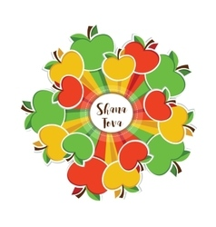 happy Rosh Hashanah Jewish holiday apples vector image