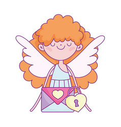 happy valentines day cute cupid with envelope vector image