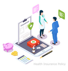 health insurance policy online isometric vector image