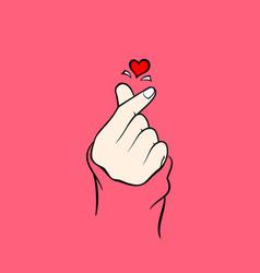 Heart finger hand korean love vector