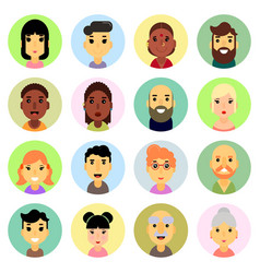 Icons set flat design people nationality vector