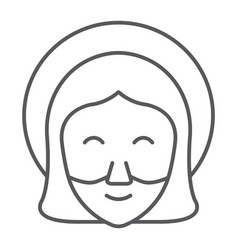 Jesus thin line icon portrait and christ vector