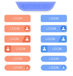 Login buttons set collection of web buttons vector