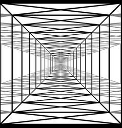 long corridor with transparent walls geometric vector image