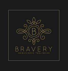 Luxurious letter b logo with classic line art vector
