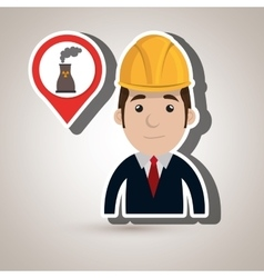 man and tower nuclear isolated icon design vector image