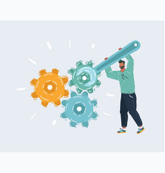 Man with wrench and gears vector