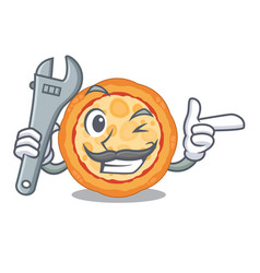 Mechanic cheese pizza on a character plate vector