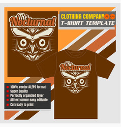 mock up clothing company t-shirt templateowl bird vector image