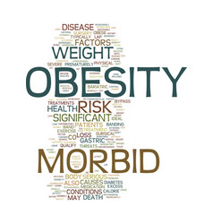 Morbid obesity text background word cloud concept vector