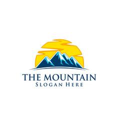 mountain nature green landscape sun eco logo vector image