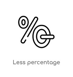 Outline less percentage icon isolated black vector