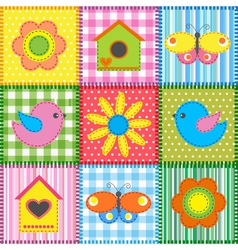 Patchwork with birdhouse vector