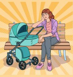 Pop art sleepless young mother with bastroller vector