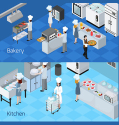 professional kitchen interior horizontal banners vector image