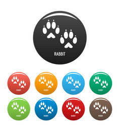 rabbit step icons set color vector image