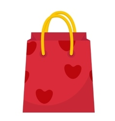 Red Gift Pack with hearts icon flat design vector image
