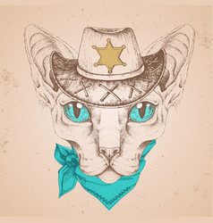 Retro hipster animal sphynx cat with sheriffs hat vector