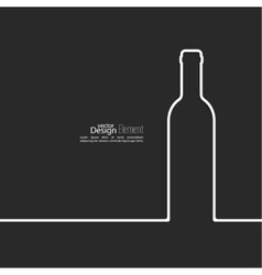 Ribbon in the form of wine bottle with shadow and vector image
