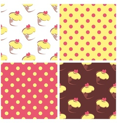 Seamless background set polka dots and cupcakes vector