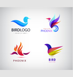 set birds logos phoenix icons isolated vector image