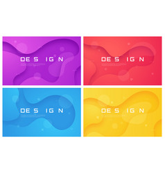 set of abstract gradient geometric designs vector image