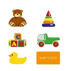 Set of childrens toys on a white background vector image