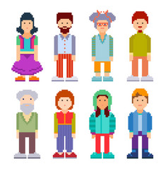 Set of different pixel art characters vector