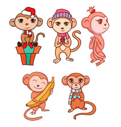 Set of hand-drawn cartoon monkeys for your vector