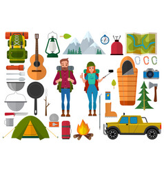 Set of hiking people and camping elements vector