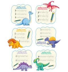 Set spelling words dinosaur handwriting vector