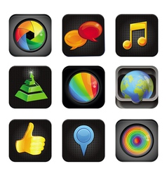 set with application square icons vector image