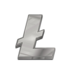 Silver litecoin trendy 3d style icon vector