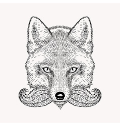 Sketch fox with a beard and moustache Hand drawn vector