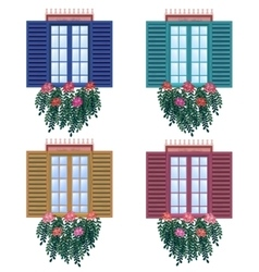 Spring is coming window with flowers - vector image