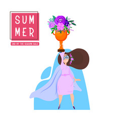 summer poster - happy girl holds in her raised vector image