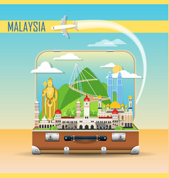 travel background suitcase with landmarks of vector image