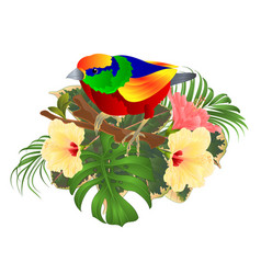 tropical bird on a branch bouquet with tropical vector image