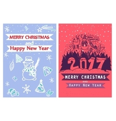 Two artistic creative merry christmas and new year vector