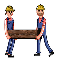 Two builders bears a timber vector