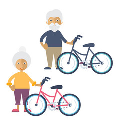 Two old people standing beside their bikes vector