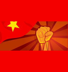 Vietnam vietnamese flag and hand fist symbol vector