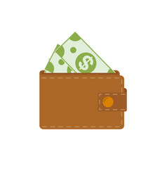 wallet with dollars icon flat design style on a vector image